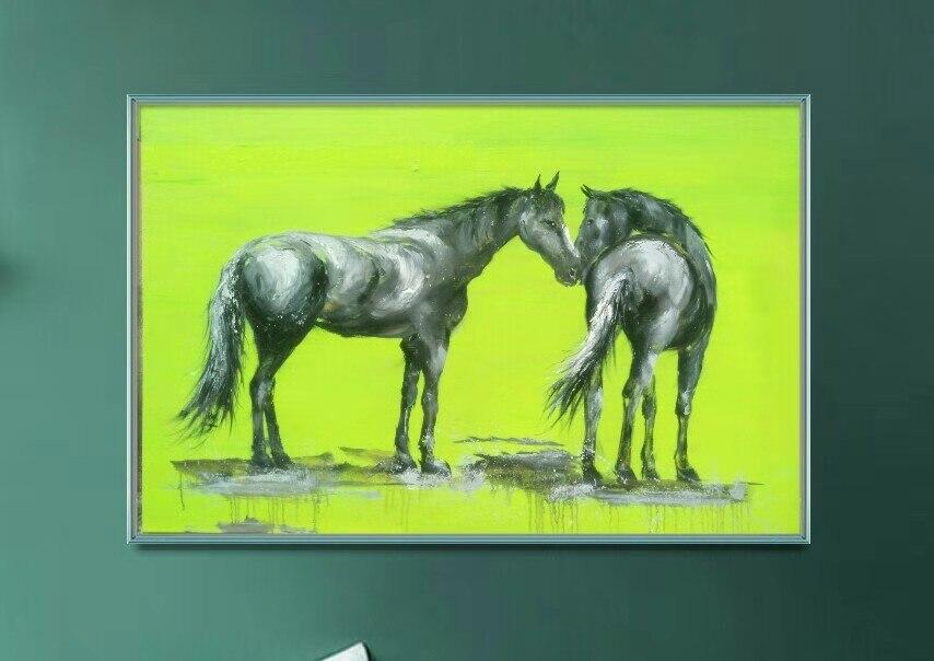 Couteau peinture cheval moderne peint à la main abstraite mode toile art maison mur peintures à l'huile pour salon mur