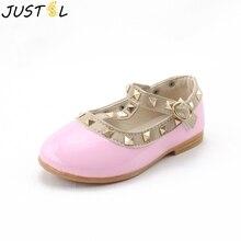 JUSTSL/ Весенняя стильная обувь из искусственной кожи с заклепками для девочек; модная детская обувь принцессы для девочек; Детские тонкие модные кроссовки