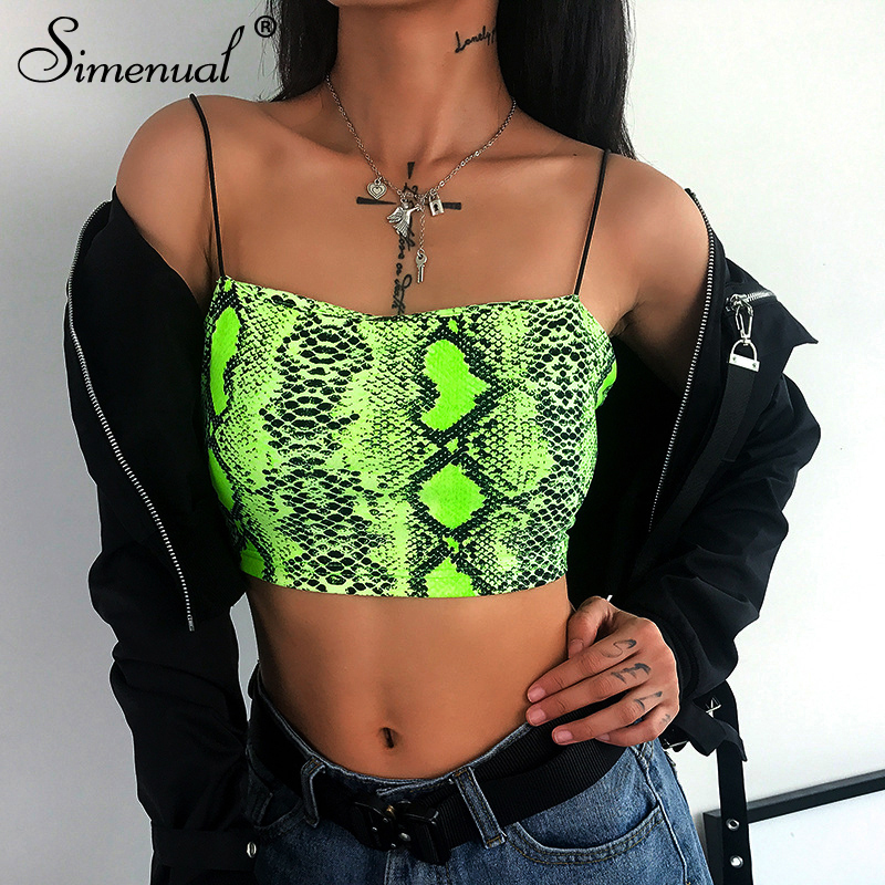 Simenual Snake Print Neon Green Bralette Crop   Top   Women Strap Sexy Hot Camis Fashion Casual Summer 2019 Sleeveless   Tank     Tops   New