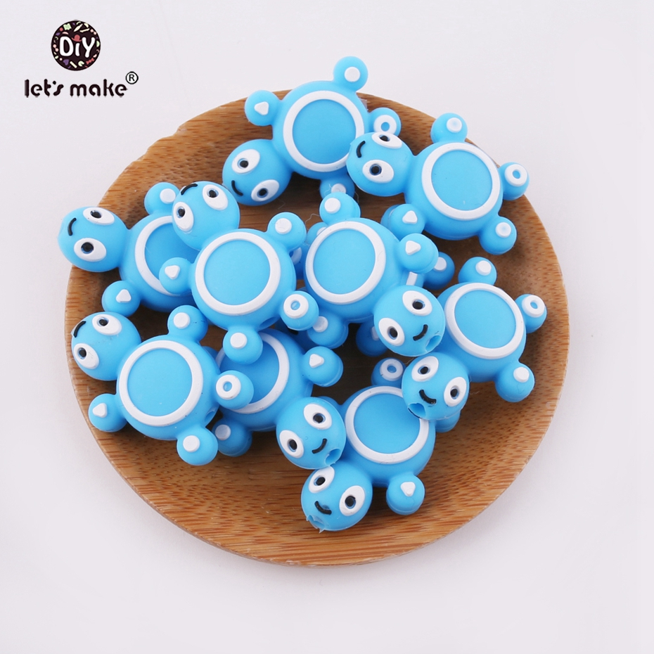 Lets Make 6pcs Blue Silicone Beads Cartoon Tortoise Beads Nursing Necklace Making Accessories Baby Silicone Teether