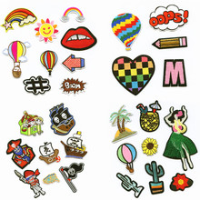 hot deal buy the pirates summer color fashion patchwork patch embroidered patches for clothing iron-on for close shoes bags badges embroidery