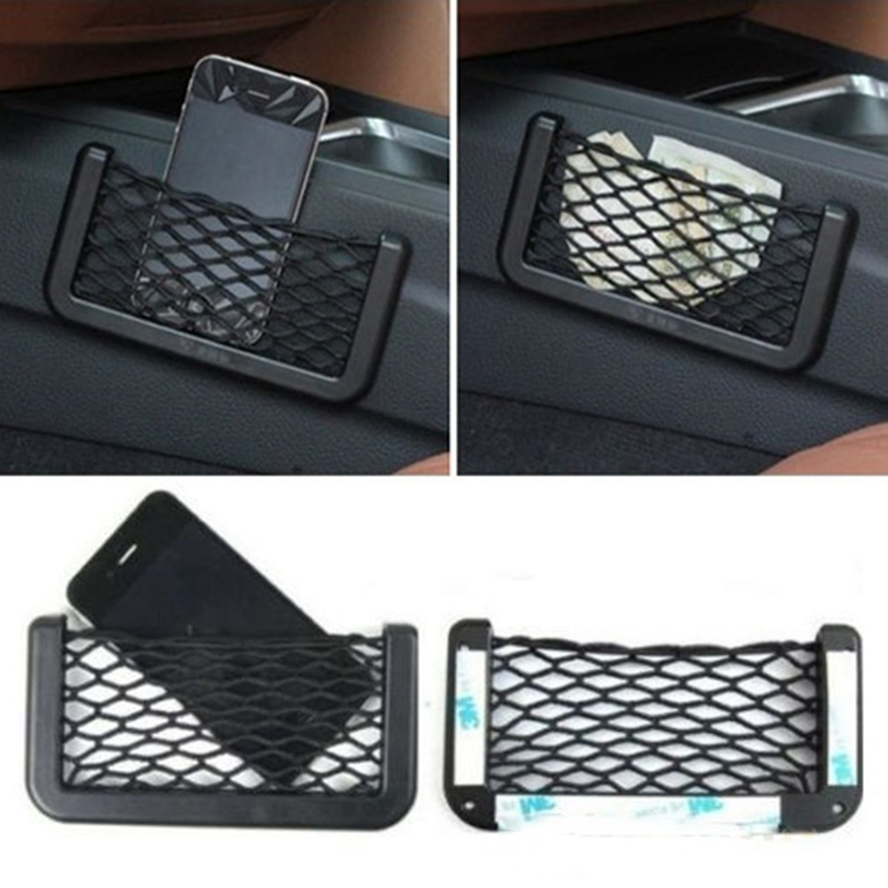 Universal Car Seat Side Back Storage Net Bag Phone Holder Pocket Organizer Black title=
