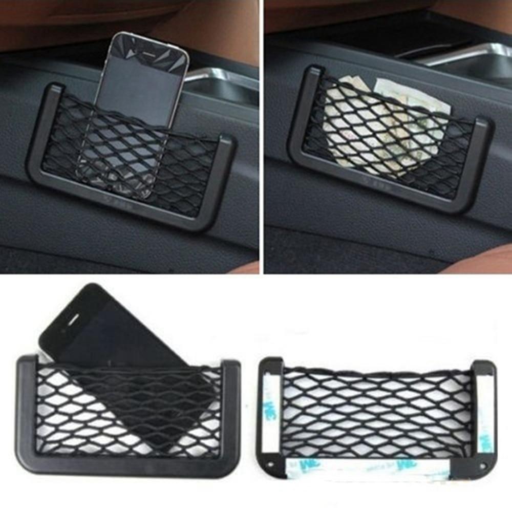 Universal Car Seat Side Back Storage Net Bag Phone Holder Pocket Organizer Black