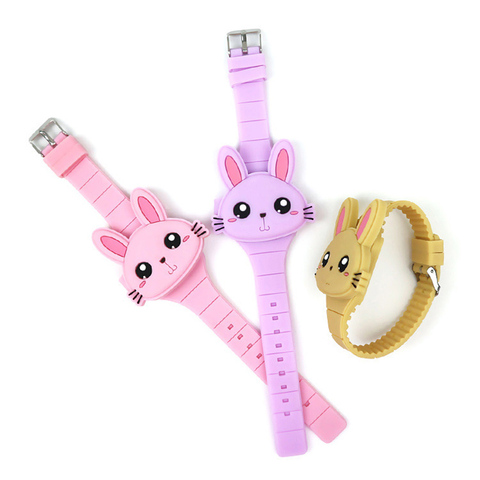 Lovely Rabbit Cartoon Children Watches Flip Cover Rubber Electronic Kids Watch for Boy Student Girls Clock Reloj Infantil Saati Multan