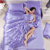 ParkShin Silk Satin Bedding Set Solid Color Bed Linen Light Purple Duvet Cover Set Soft Tencel Flat Sheet 3Pcs or 4Pcs