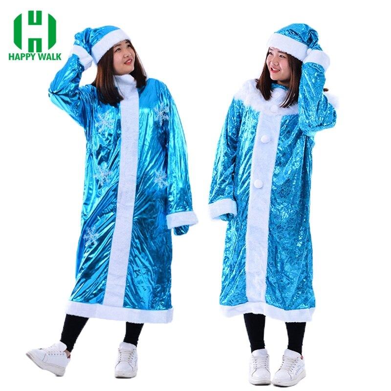 Nouveauté femmes neige jeune fille noël père noël Costume Snegurochka drôle robe Costume Cosplay robe de noël Costume pour adulte