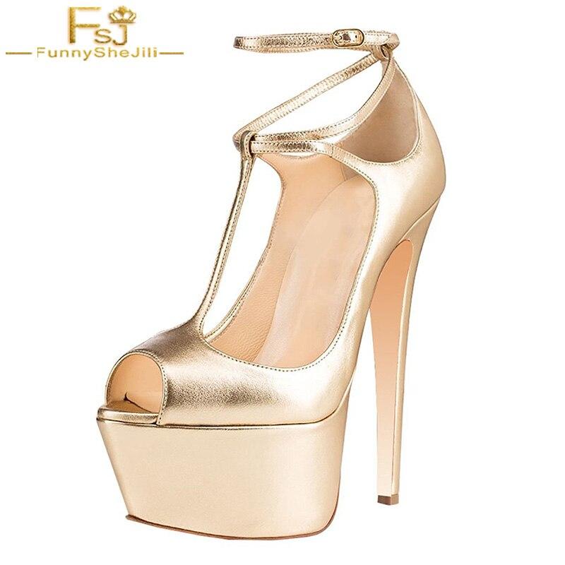 FSJ Classic Women T-Strap High Platform Supper Gold Star Chunky Heels Pumps Peep Toe Sexy Ballroom Shoes Dress Party Evening