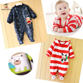 2016 Chirstmas Autumn Winter Baby Rompers Long Sleeved Newborn Boy Girl Boy Polar Fleece Baby Jumpsuit Newborn Baby Clothing