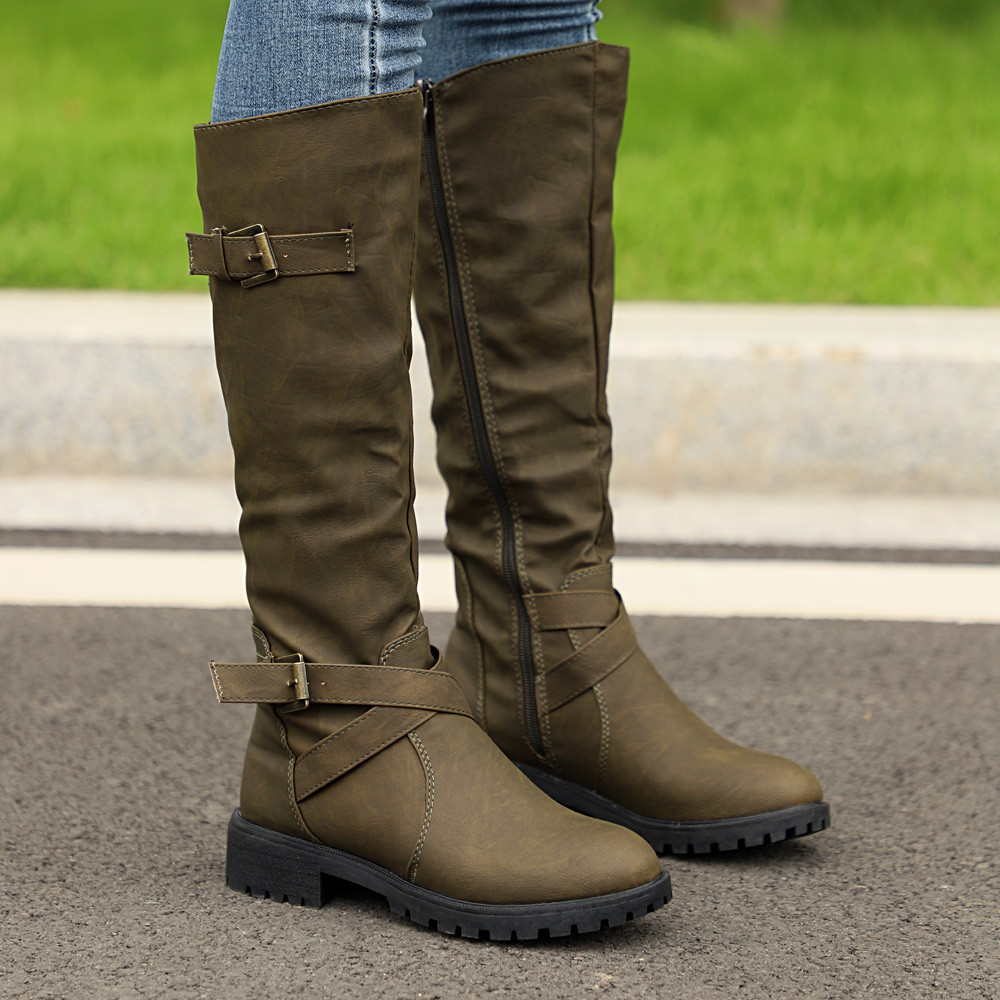 a2e2d2fb754e See more. Similar products. See more · New Autumn Winter Womens Knee High  Calf Biker Sexy Boots Ladies Zip Punk Military Combat Army ...