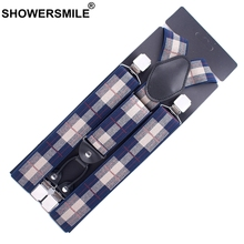 SHOWERSMILE Men Suspender Plaid Navy Blue Suspender Plus Size 125cm Mens 4 Clip Suspenders Braces Y Back Man Striped Pants Strap цена