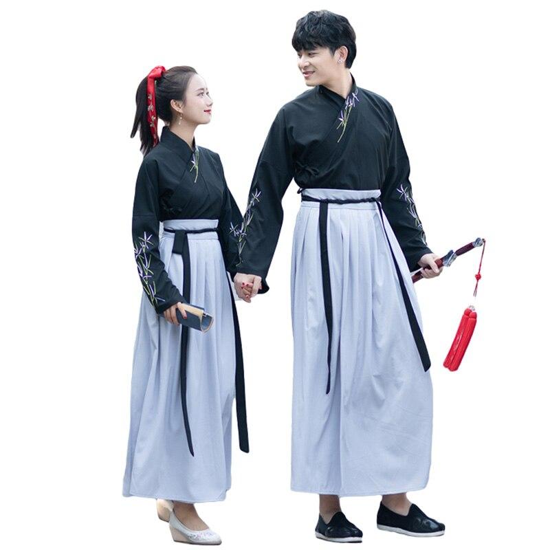 Black Hanfu For Men Women Classical Dance Costume Folk Festival Outfit Rave Fairy Dress Performance Clothes 2 Pcs Set DF1115