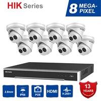 Hik Original 8CH 4K POE NVR Kit CCTV Security System 8PCS Outdoor 8MP Network Turret IP Camera POE P2P Video Surveillance System