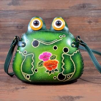 handmade genuine leather shoulder bag mini leather bags cartoon animal frog handbag leather