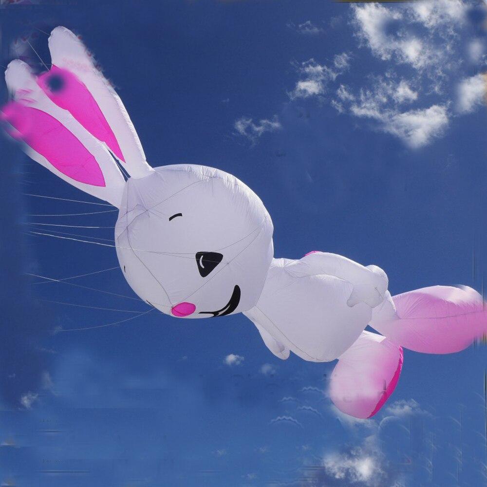 Livraison gratuite haute qualité grande longévité lapin cerf-volant grande ligne douce cerf-volant blanchisserie ripstop nylon tissu cerf-volant blanc barbu