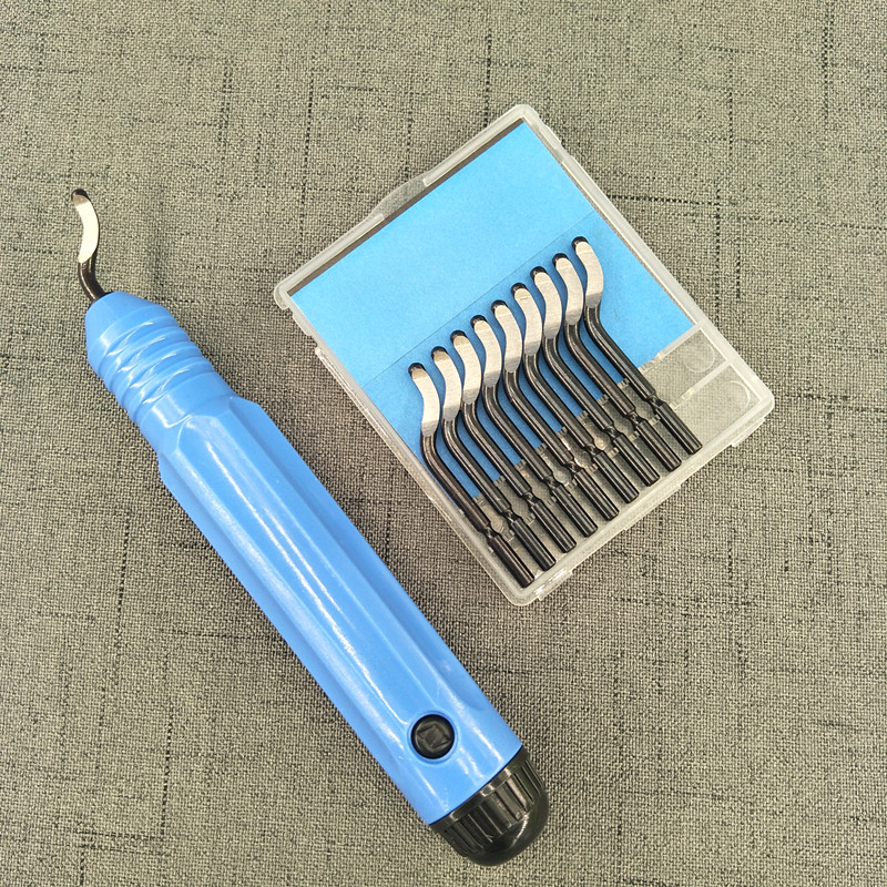 10 Blades US Hand Trimmer Chamfering Tool Scraper Deburring Tool Handle Blue