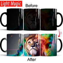 the King of Forest lion magic mug 350ml ceramic color changing mugs cup heat sensitive coffee milk gift