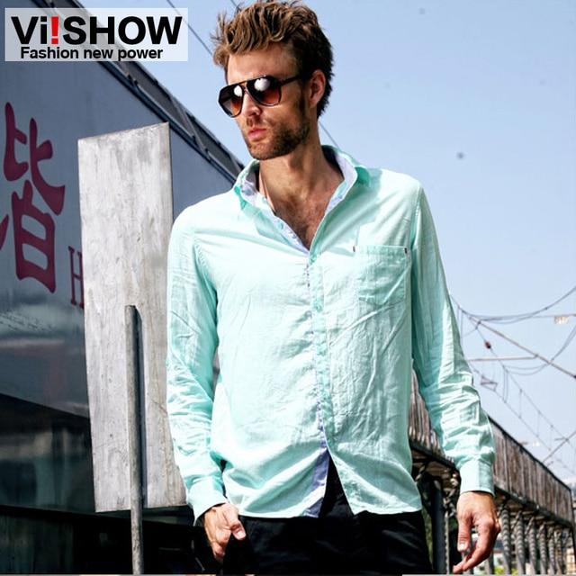 581652b58e8 viishow2013 spring models linen shirt men s long sleeve shirts slim men  tide brand shirts blue white