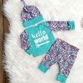 3 Pçs/set Bebê Recém-nascido Meninos Meninas Conjunto de Roupas Carta Floral longo-manga comprida T-shirt + Calças + Chapéu das Crianças conjunto de roupas SY216