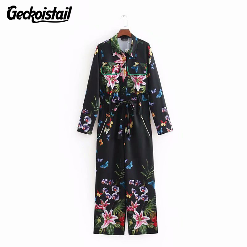 Geckoistail Women Fashion 2018 Print Spring Summrt Jumpsuit Rompers Ladies Bow Pocket Print Floral chiffon Overalls playsuit