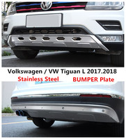Car BUMPER Plate For Volkswagen / VW Tiguan L 2017.2018 BUMPER GUARD High Quality Stainless Steel Front+Rear Auto Accessories