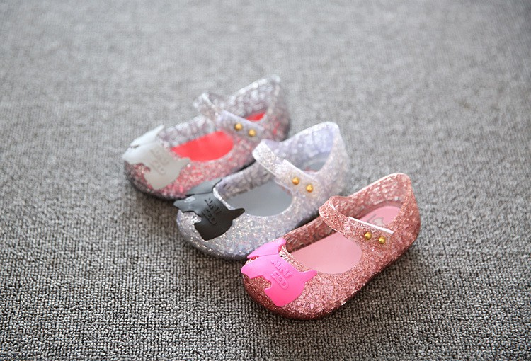 17 new fashion girls shoes Bow jelly sandals female child soft outsole princess shoes open toe shoes kids sandals baby shoes 5