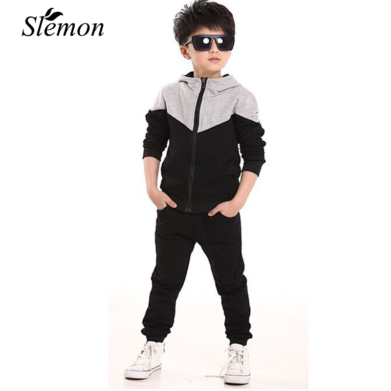 Children Jogging Tracksuit Set Hooded Coat + Pants Kids Boys Girls Baby 2018 Spring Autumn Clothes Sports Suit 4 6 8 10 12 Years free shipping 2017 spring autumn children baby boys hooded sports suit letter 2pcs set kids