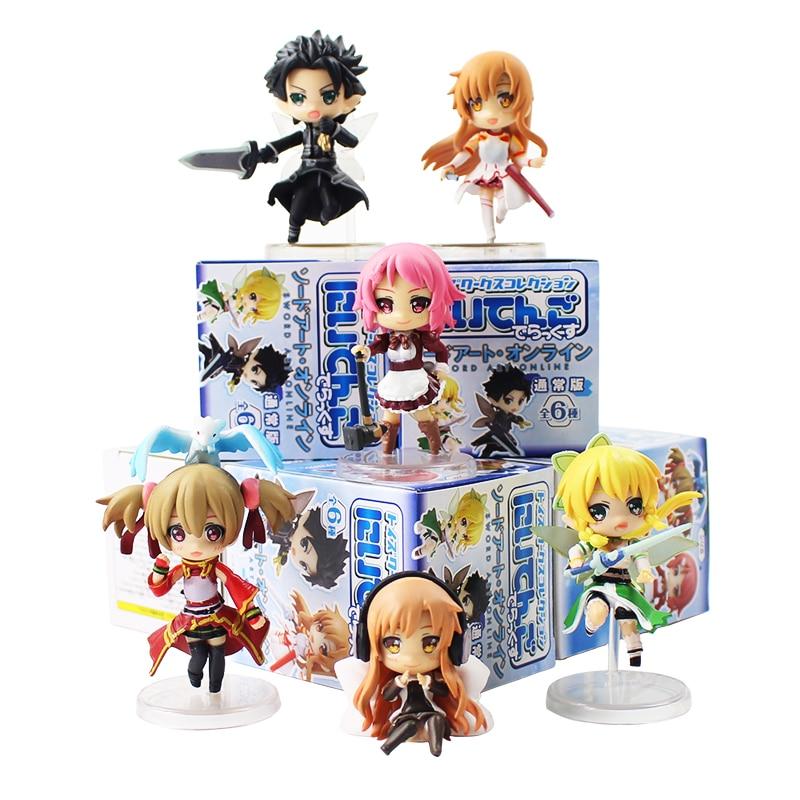 Toys & Hobbies 6pcs/lot Sword Art Online 2 Figures Kirito Asuna Leafa Lisbeth Silica Fairy Dance Sao Mini Model Dolls Elegant In Smell