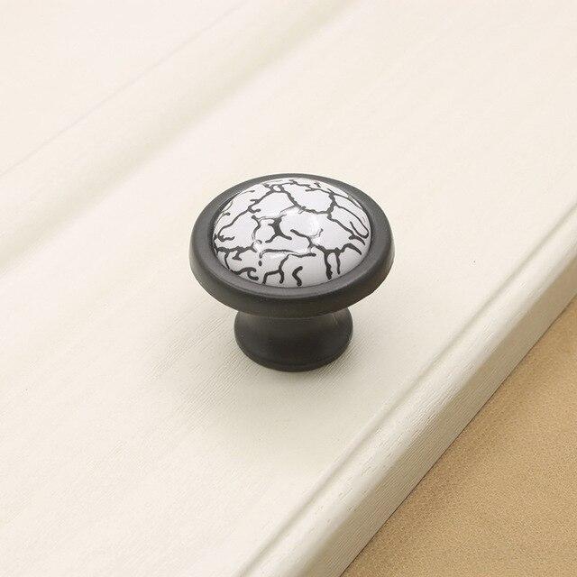37mm Ceramic Cabinet Knobs And Handles Black White Crackle Kitchen ...