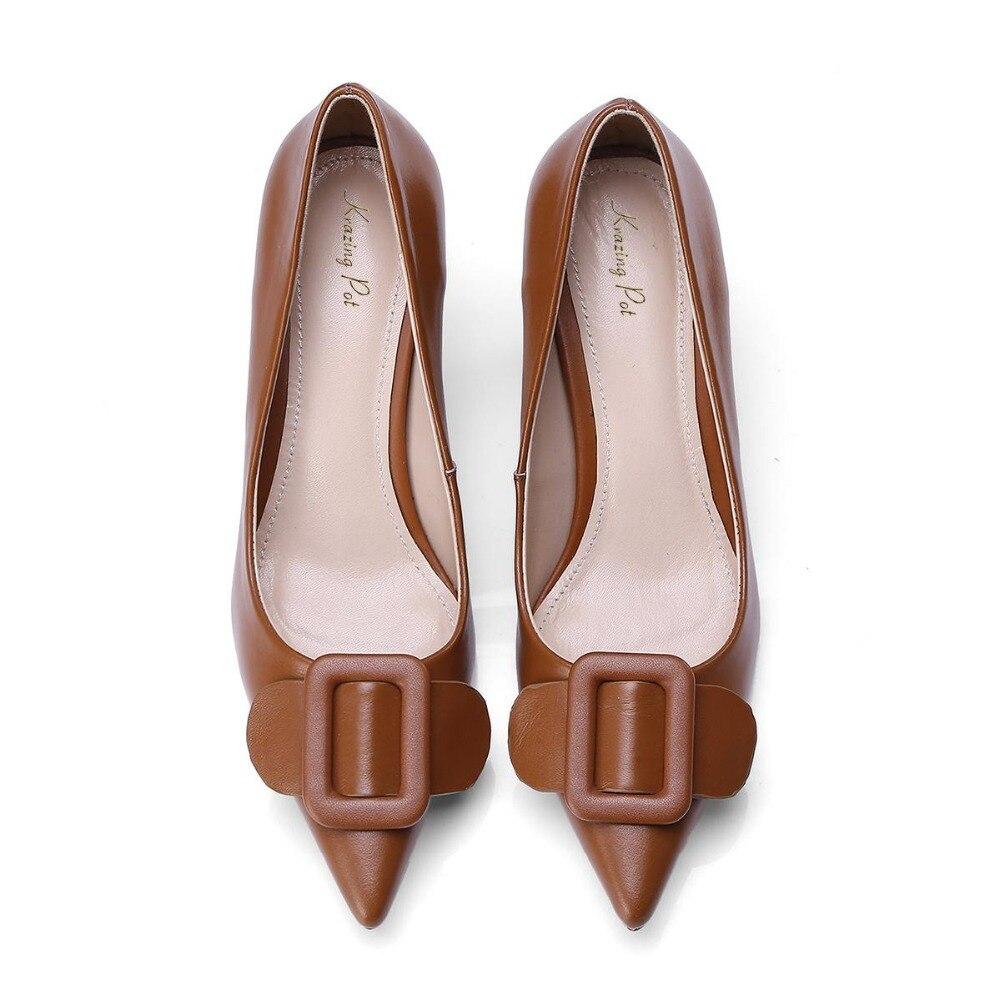 Chaussures Talons Hauts Vache Boucle Pompes Pointu Dame Mince Cuir Femmes Slip Décoration Classique Pot Métal Noir L38 marron Sur Élégante Krazing En Bout 058qqw