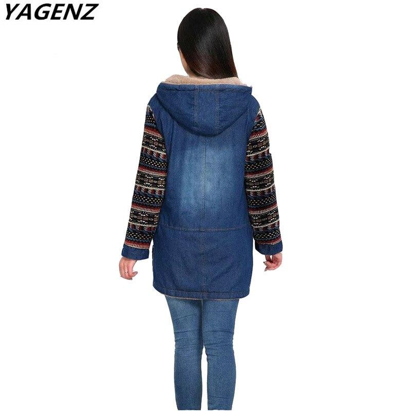 YAGENZ Neue Herbst Winter Frauen Denim Baumwolle Jacke Warme - Damenbekleidung - Foto 2
