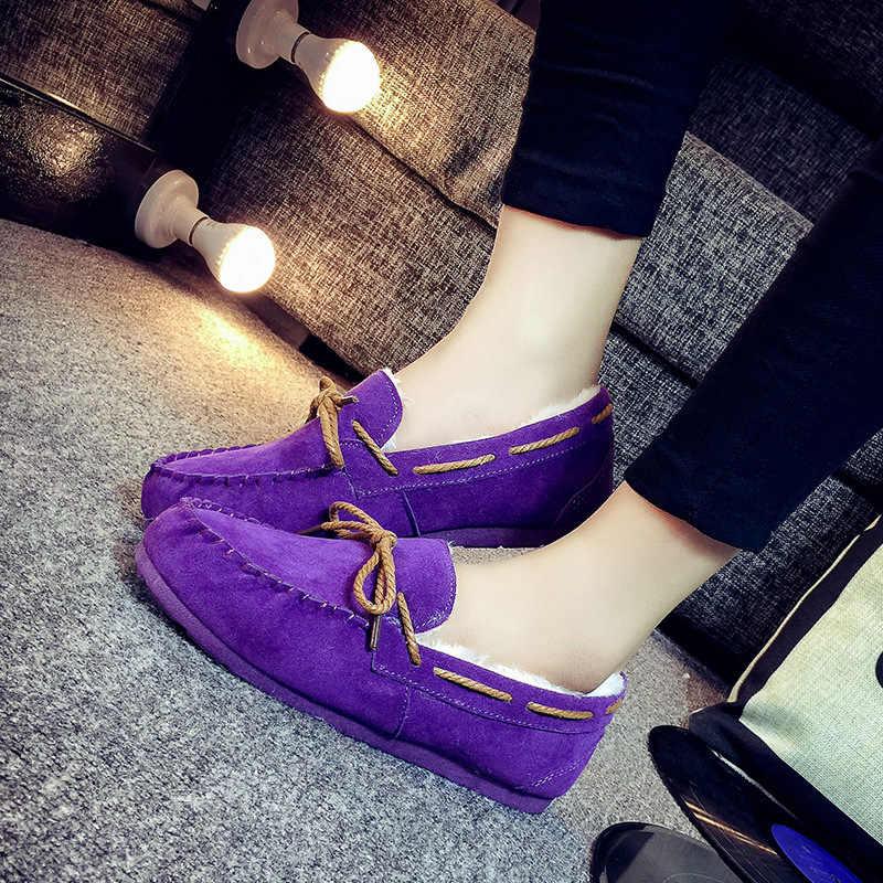 2018 รองเท้าบู๊ทขนสัตว์แบนฤดูหนาวรองเท้าลื่นขี้เกียจรองเท้าผู้หญิงสบายรองเท้าสบายๆพลัสขนาด ALF250B