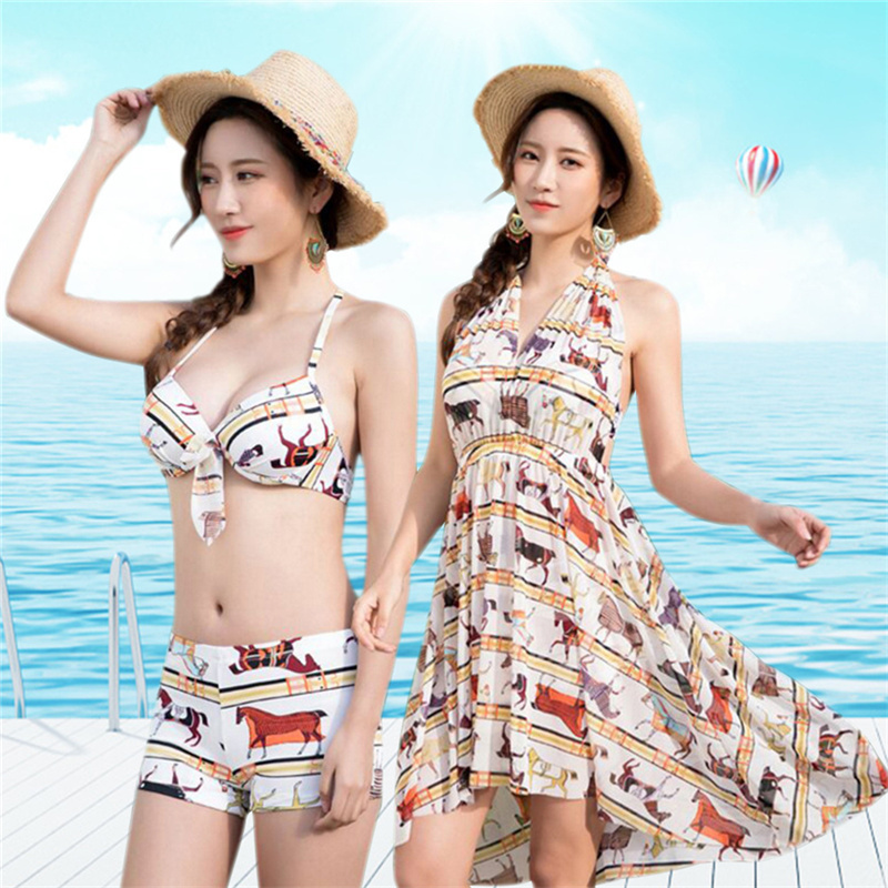 Sexy Women Swimwear 2018 Halter Skirt Bikini Set Summer Printed Biquini Bathing Suit Tankini 3 Piece Cover Up