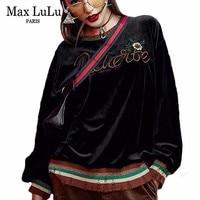 Max LuLu 2018 Luxury Korean Designer Girls Velvet Hoodies Womens Embroidery Sweatshirt Winter Harajuku Woman Oversized Tracksuit
