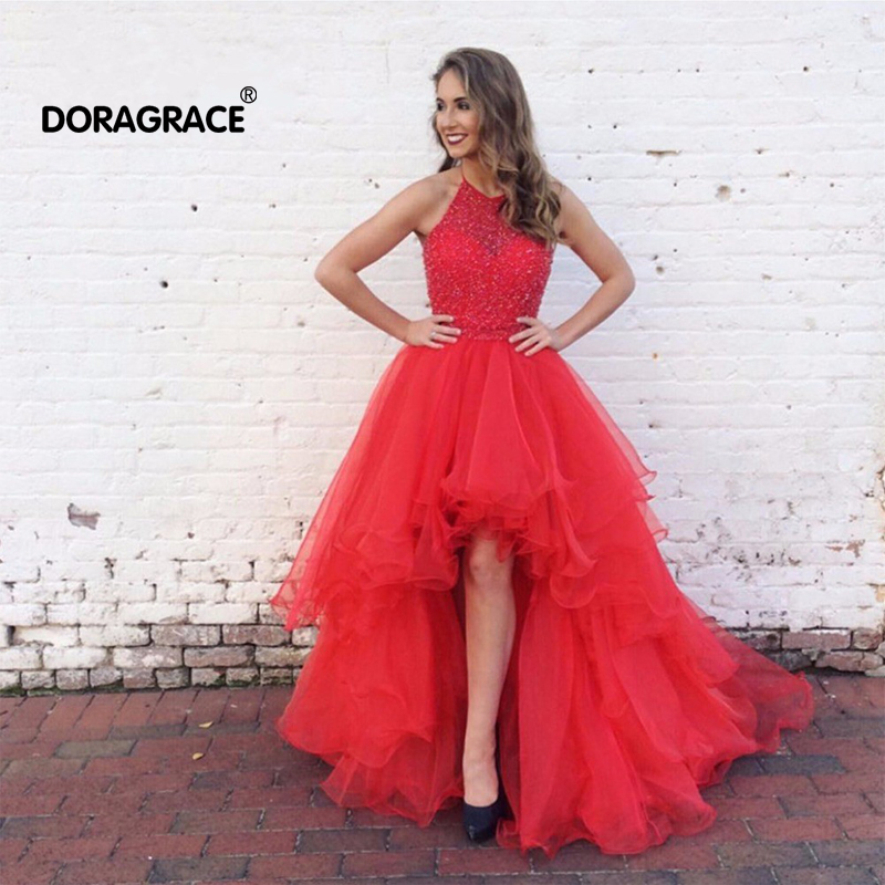 Doragrace New Fashion Halter High/Low Organza Beaded Evening Party Dresses Prom Gowns Plus Size