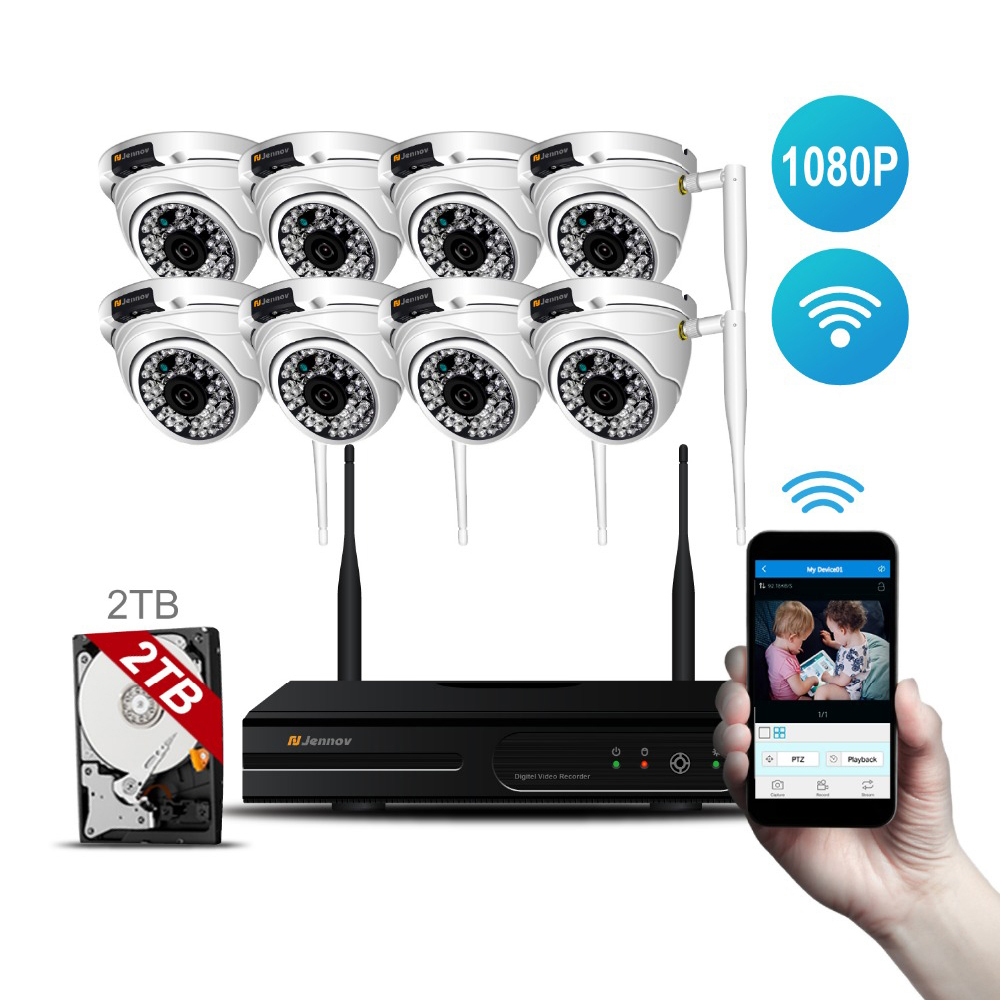 8CH HD 1080P 2MP Wireless Outdoor Home Security Camera System With NVR Wifi Ip Kit CCTV Set Dome Video Surveillance kits Ip Cam arsecut wireless nvr kit 8ch 1080p full hd wifi cctv system 8pcs outdoor waterproof 2mp ip camera security surveillance set
