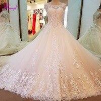 Fmogl Gorgeous Appliques Royal Train A Line Wedding Dresses 2018 Luxury Beaded Scoop Neck Princess Bridal Gown Vestido de Noiva