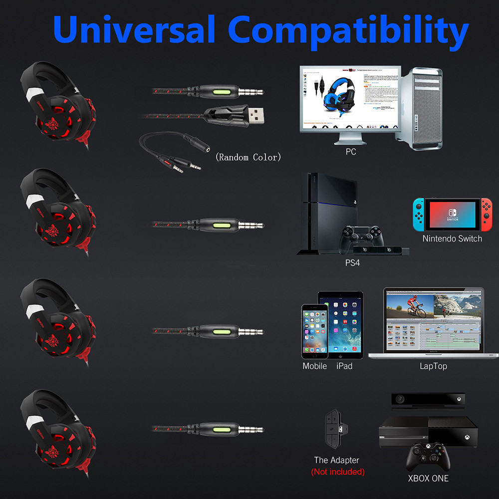 ONIKUMA K2 7.1 Surround Sound USB Gaming Headset Casque Wired PS4Xbox One Headphoes with Microphone Volume Control for Computer (4)