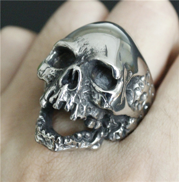 skull silver evil men steel cool mens ring man boys rings walking biker stainless item
