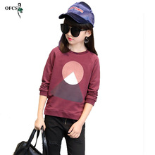 New Leisure Kids Children's Clothing, Girl's Autumn Geometric Patterns Knit Sweater T-shirt Coat Children Joining Together 3-15T