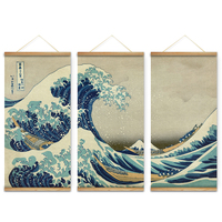 3Pcs Japan Style The Great Wave Off Kanagawa Decoration Wall Art Pictures Hanging Canvas Wooden Scroll