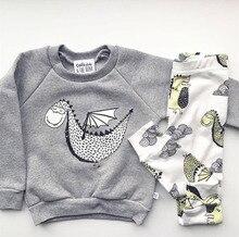 2016 autumn baby boy clothes cotton cartoon long sleeved dinosaur t-shirt+pants infant clothes 2pcs suit baby girl clothing sets