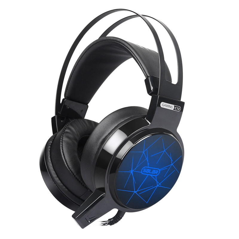 Salar C13 Gaming Headset Stereo Deep Bass Game Headphone LED Luminous Headsets with Microphone for Computer Pc Gamer Lol high quality gaming headset with microphone stereo super bass headphones for gamer pc computer over head cool wire headphone