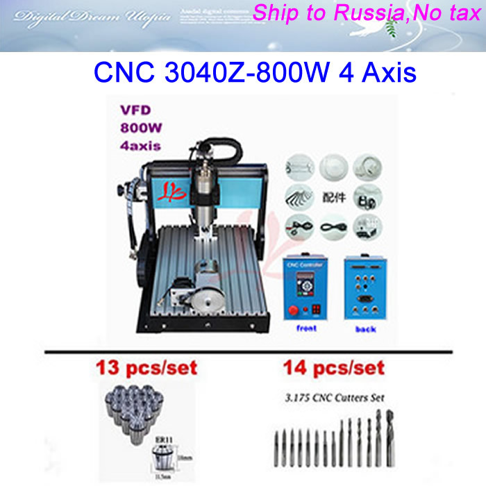 No Tax To Russia! CNC 3040 800W 4 Axis CNC router with limit switch + Engraving tool bits 14pcs + Collet 13pcs  hot! cd аудиокнига 5 1 пушкин а с стихи сказки поэмы проза mp3 ардис
