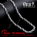Beier stainless steel necklace new rough version twist 6mm trendy chain necklace boy man necklace  BN1028
