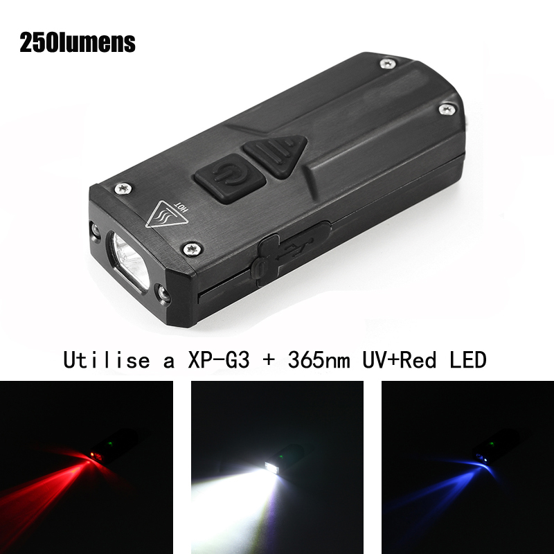 Jiguoor K1 SS XP-G3+365nm UV+Red LED 250LM USB Rechargeable Mini LED Keychain Light IP65 Waterproof High Quality Flashlight