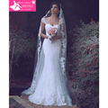 Sexy Mermaid Lace Wedding Dress 2017 with long veil free Vestido de Noiva Bride Dresses robe de mariage MTOB1724
