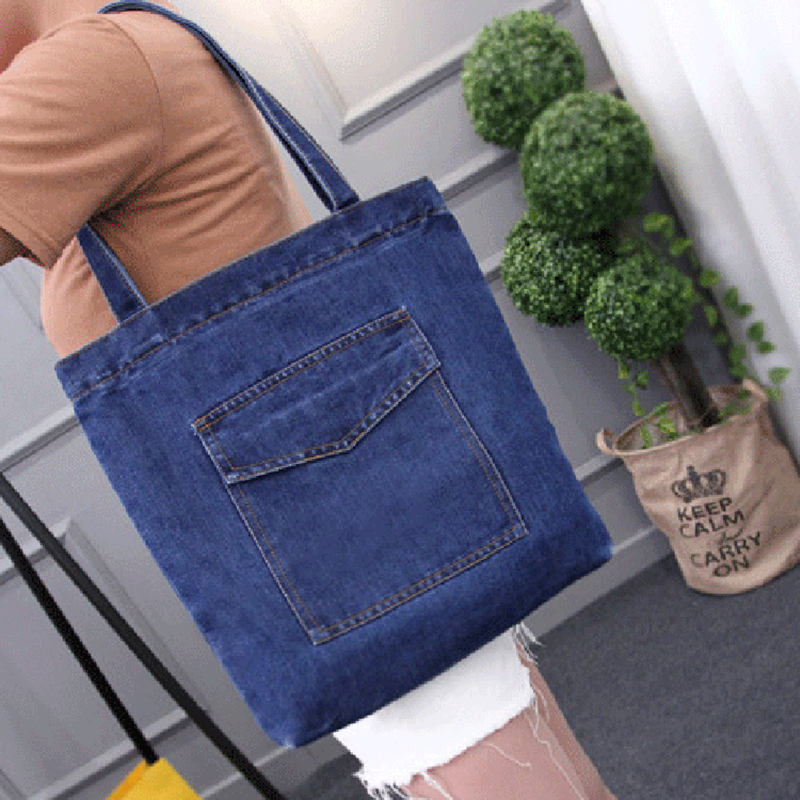 HLDAFA 2019 ახალი ქალები ჩანთები დიდი ტევადობა Cowboy Handbag High Qualtity Wild Casual Canvas Denim Shoulder Bag Flap Shopping Bag