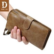 DIDE Double Zipper Clutch Wallets Mens Genuine Leather Money Clip Male Walet Vintage Purse Long Phone Wallet Mans Brand