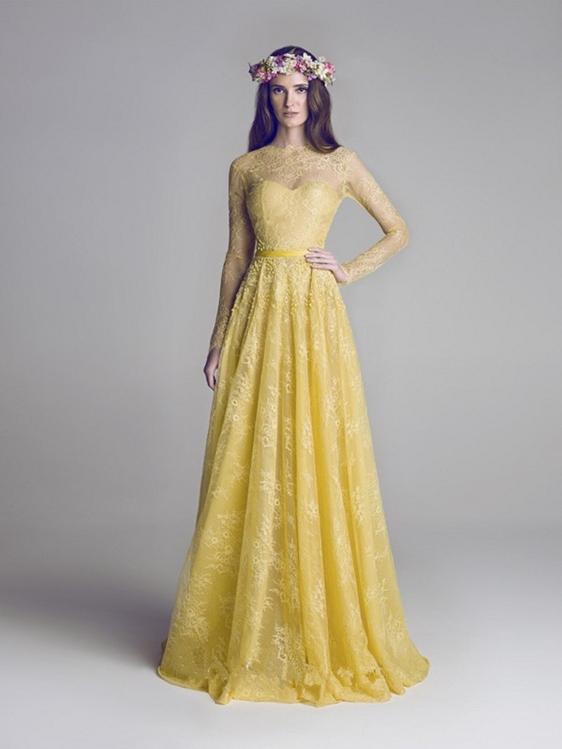 Yellow Maxi Dress Long Sleeves