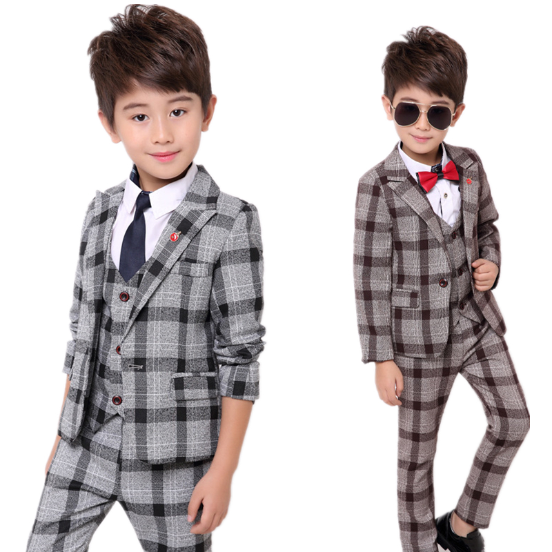School uniform Dress for boys Formal Tuxedo Suits for Weddings Blazer Vest Pants Kids Gentleman Party Child Clothing Sets B043 baby boy clothes suits vest plaid shirt pants 3pcs set party formal gentleman wedding long sleeve kid clothing set free shipping